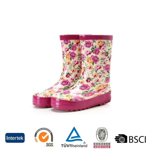 2016 cheap unique flower printed women red flat sole rubber rain boots