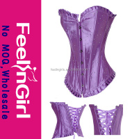 wholesale overbust cheap no moq purple full steel boned corset