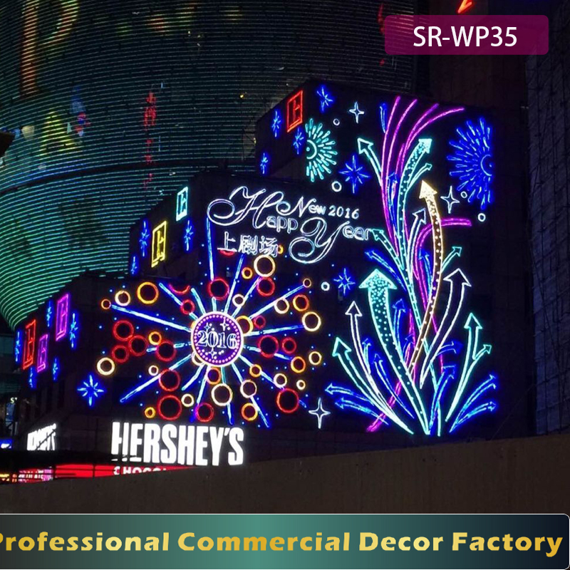 Customize LED happy new year sign with LED fireworks for office building facades decoration