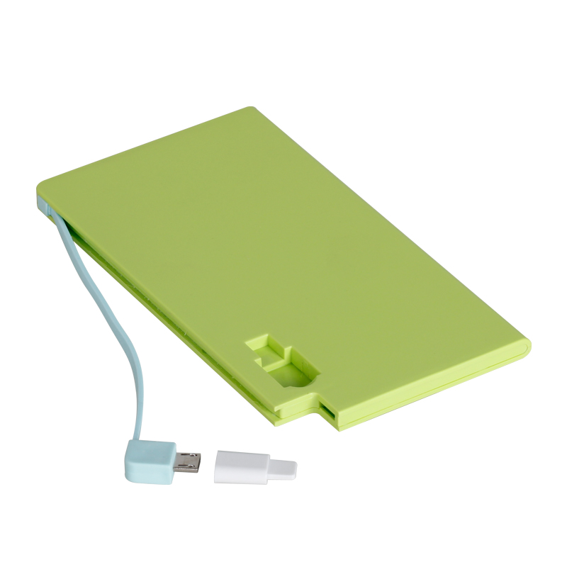 Hot new products for 2016 credit card size power bank 3000mAh external credit card powerbank with built in cable