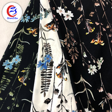 Latest design 3d flower printed dress woven embroidered wholesale chiffon fabric