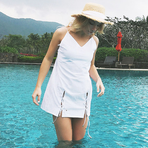 Sexy Women Backless Short Summer Beach Mini Dress Plain White