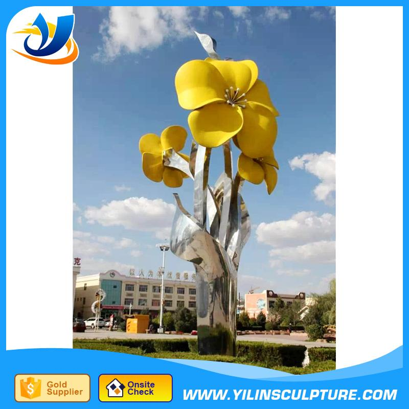 Large welding metal flower stainless steel sculpture