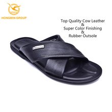 wholesale fashion slippers genuine cowskin bulk sale slippers mens rubber sole leather slippers and sandals for man