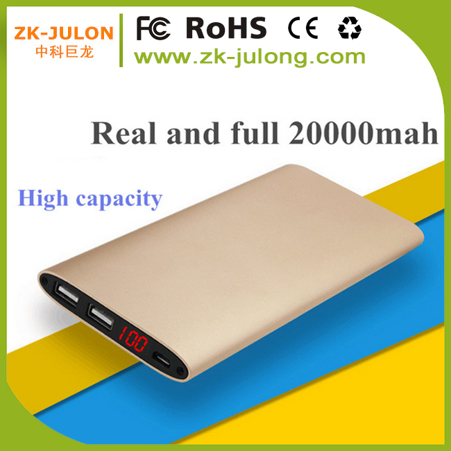 High Capacity ultra slim power bank 20000mah external battery for iPhone, blackberry