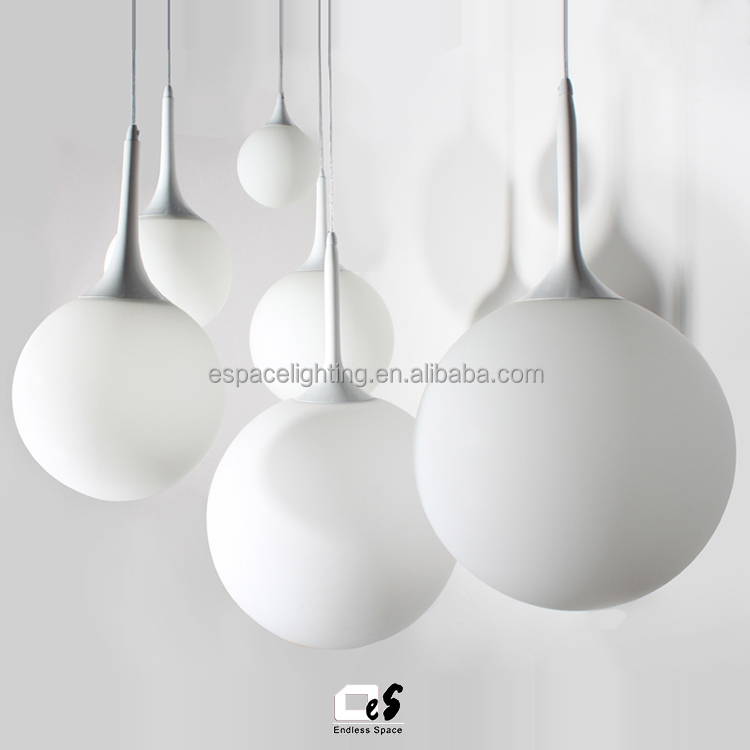Contemporary Hand Blown Glass Hanging Lamp Round Indoor Pendant Light Modern