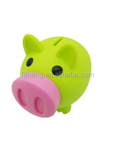 Plastic green pig animal with pink soft and voice nose kids coin bank