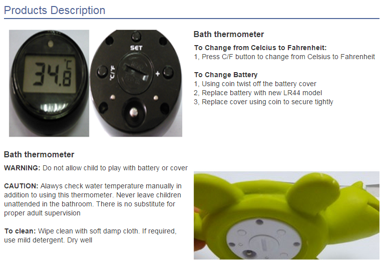 BPA FREE Waterproof Floating Digital Baby Bath Thermometer