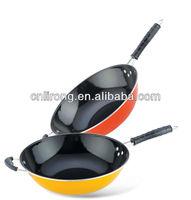 enamel wok deep ceramic Frying pan with glass lid