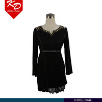 hot sale fashion applique scoop neck beautifully cut feminine touch of lace fit and flare long sleeve women's dress