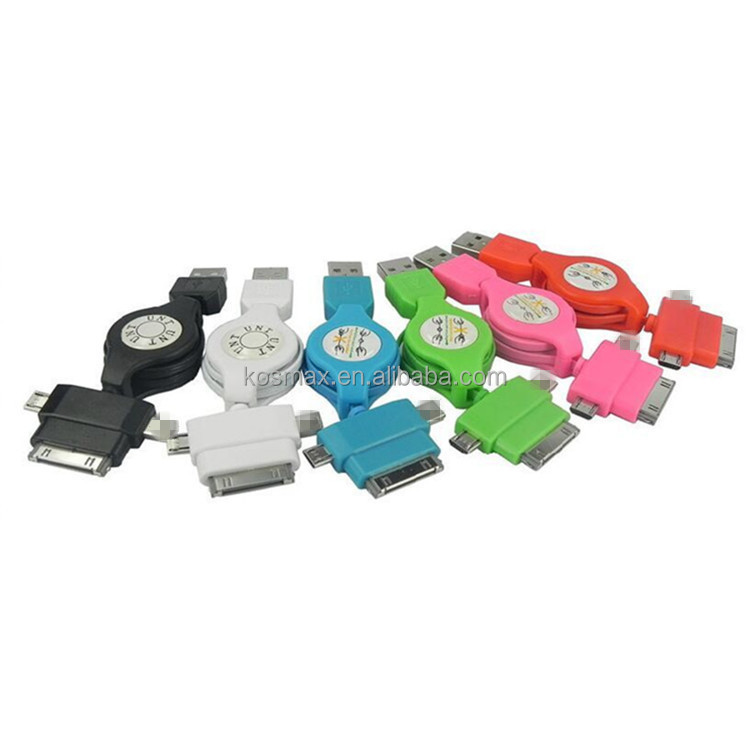 Multifunctional universal 6 in 1 Retractable usb cable for iPhone iPod iPad iPad iPhone 4 4S HTC BlackBerry Samsung MP3/MP4
