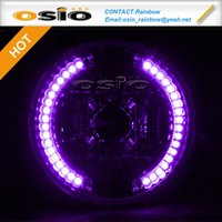 BMC Semi Sealed Beam Purple LED halo ring install Halogen H4 / HID Xenon bulb