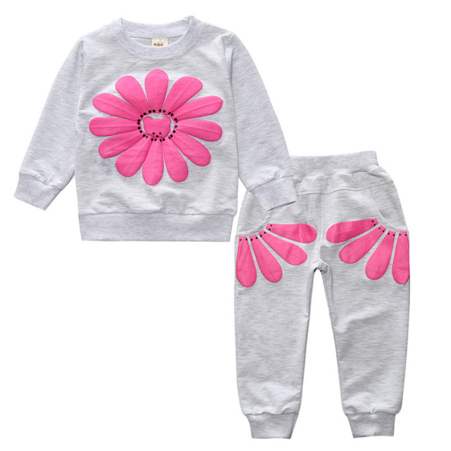 2017 New 2pcs spring autumn children clothing set baby girls sports suit sunflower casual costume