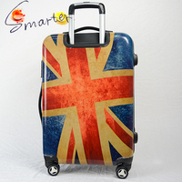 Flag Printed ABS+PC Trolley Luggage Bag