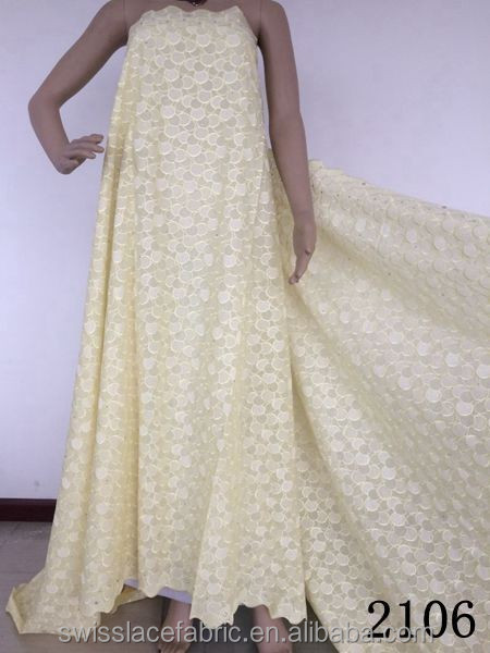 2015 Senwei best yellow cotton lace selling in high quality african swiss voile lace in switzerland of 2106-Yellow Big Promotion