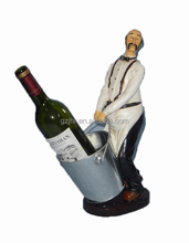 Resin Chef Wine Bottle Holder with Pail for Restaurant /Bar / Cafe