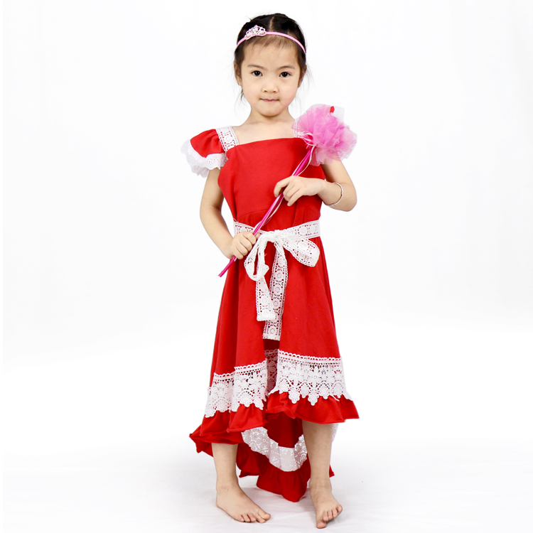 Irregular Girls' Red Evening Party Long Sleeveless Dress With Lace Belt
