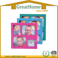 Plastic square photo frame wall clock with 3photos