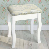 White provencial wood french vanity dresser stool cushioned