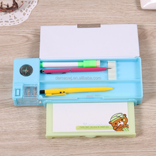 Fancy school supplies plastic multi compartment compass pencil case with sharpener and whiteboard