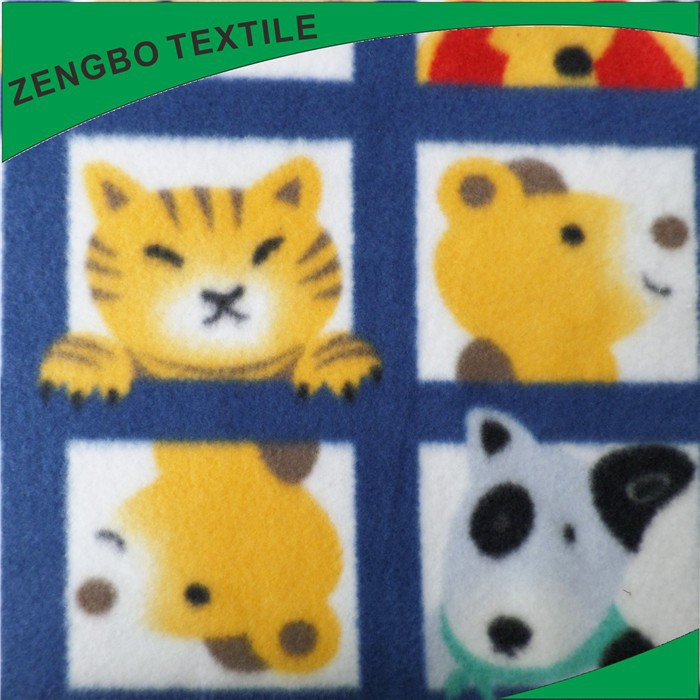 polyester brushed Polar Fleece fabric carton design printed for kids