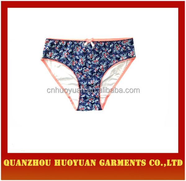 last design women briefs women underwear model flower printed knitting ladies panties