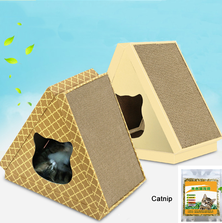 Wholesale Multifunction Triangle Corrugated Cardboard Cat Scratcher Toy With Catnip