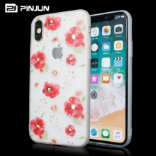 Floral mobile phone cover for print iphone 10 case, glitter cute phone case girls with rhinestones for iphone x