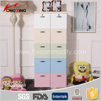 5 layer clothes closet plastic tall storage cabinet organizer with two locks
