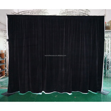 Hot sale black stage curtain drape with velvet drapes with 100% blackout