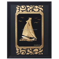Wall Decoration Ship Model 3D 24K Gold Foil Picture Frame