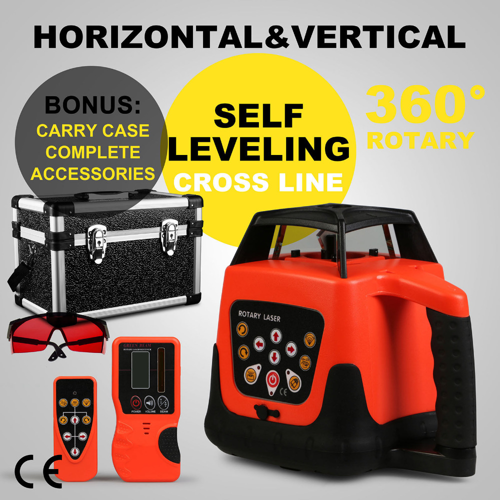 AUTOMATIC RED ROTARY LASER LEVEL SELF-LEVELING BUILDING 500M RANGE CONSTRUCTION
