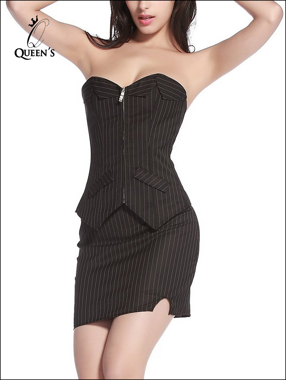 Hot Sexy Top Corpete Corselet Overbust Lace Up Zipper Striped Corset Waist Training Corsets Black Bustier Gothic espartilho