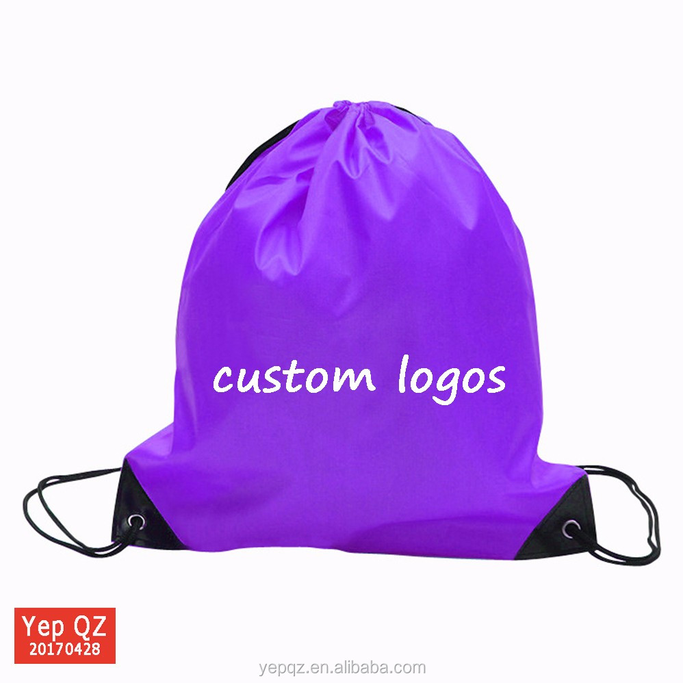 China supplier recycled foldable polyester string bag with custom logo printed