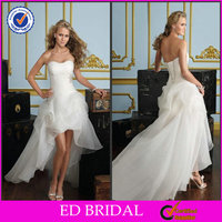 EDW294 Best Sell Lace Up Back Puffy Sexy Short Front Long Back Wedding Dress