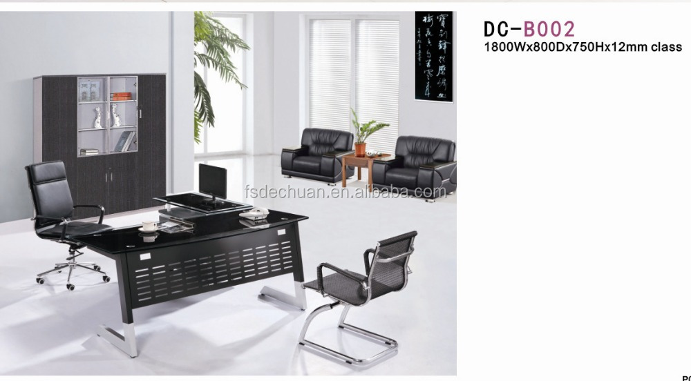 2017simple executive glass office table metal office table with glass top