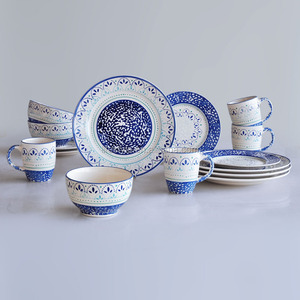16pcs stoneware dinner set with hand painting,new design ceramic tableware.latest dinner set with popular design