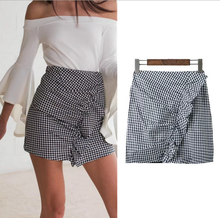 X86453A latest ladies mini plaids skirt design pictures for lady skirt