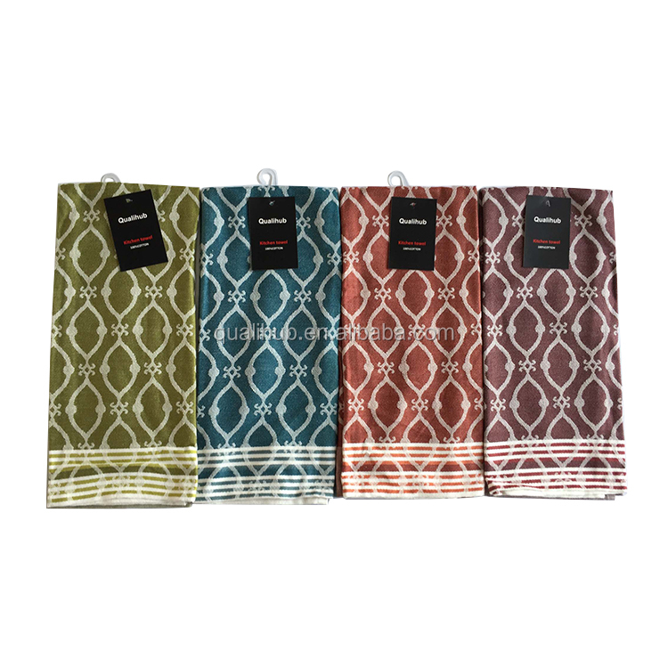 waffle printed luxury design cotton tea towel with stripe border