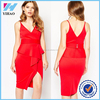 Alibaba express clothes side spilt red dress for women sexy free prom dress