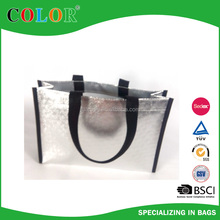fashion mentallic sliver non woven shopping bag