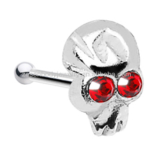 Fashion cheap wholesale crystal skull shape 316L stainless steel bone nose ring body piercing jewelry