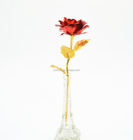 Famous Eiffel Tower Vase With Fiery-red 999.9 24K Gold Rose Gift Box for gift