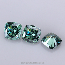 Green color Cushion cut Moissanite Diamond for Jewelry Accessories