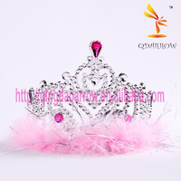 Crystal Plastic Kids Tiara Wholesale Hair Crown Children with Feather