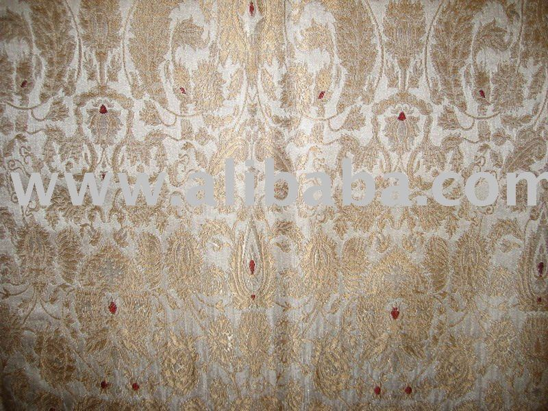 Pure Heavy Silk Brocade Fabric True Gold,Red & Cream