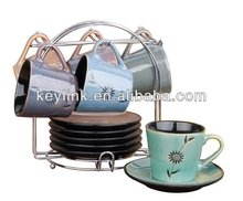 High quality antique ceramic coffee tea cup sets with stand