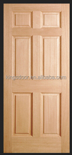 new 6 panel carved solid wooden veneered interior door design for hotel by china supplier