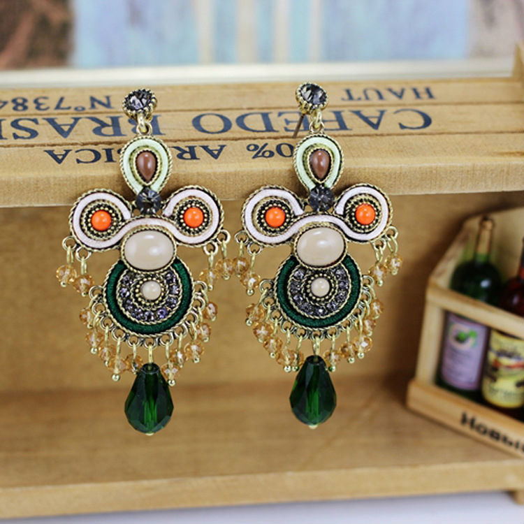 Hot Sale Fashionable Colorful Zinc Alloy Indian Style Hoop Earrings