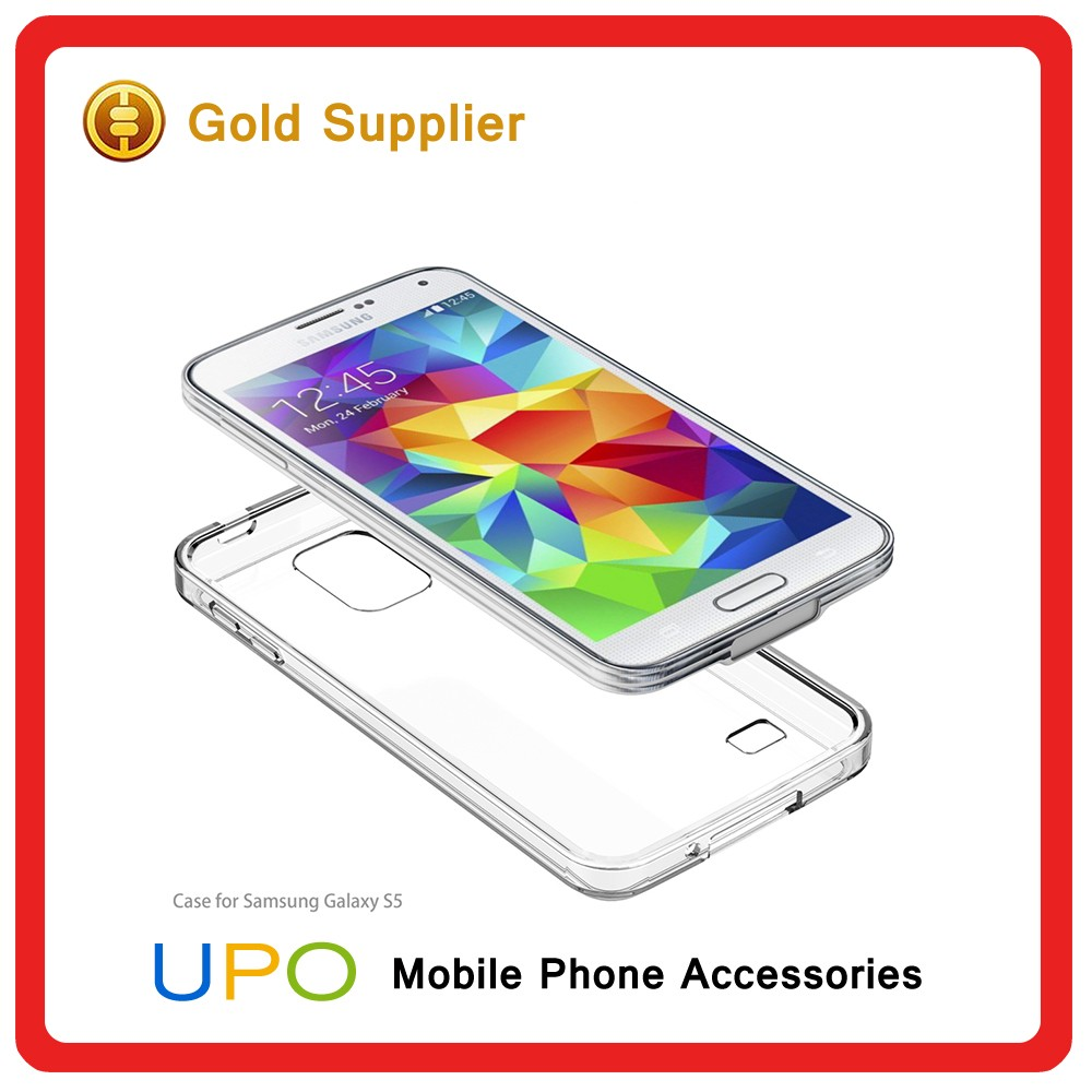 [UPO] 2016 New Design Shockproof Clear Hard Plastic TPU Mobile Covers Case for Samsung Galaxy S5